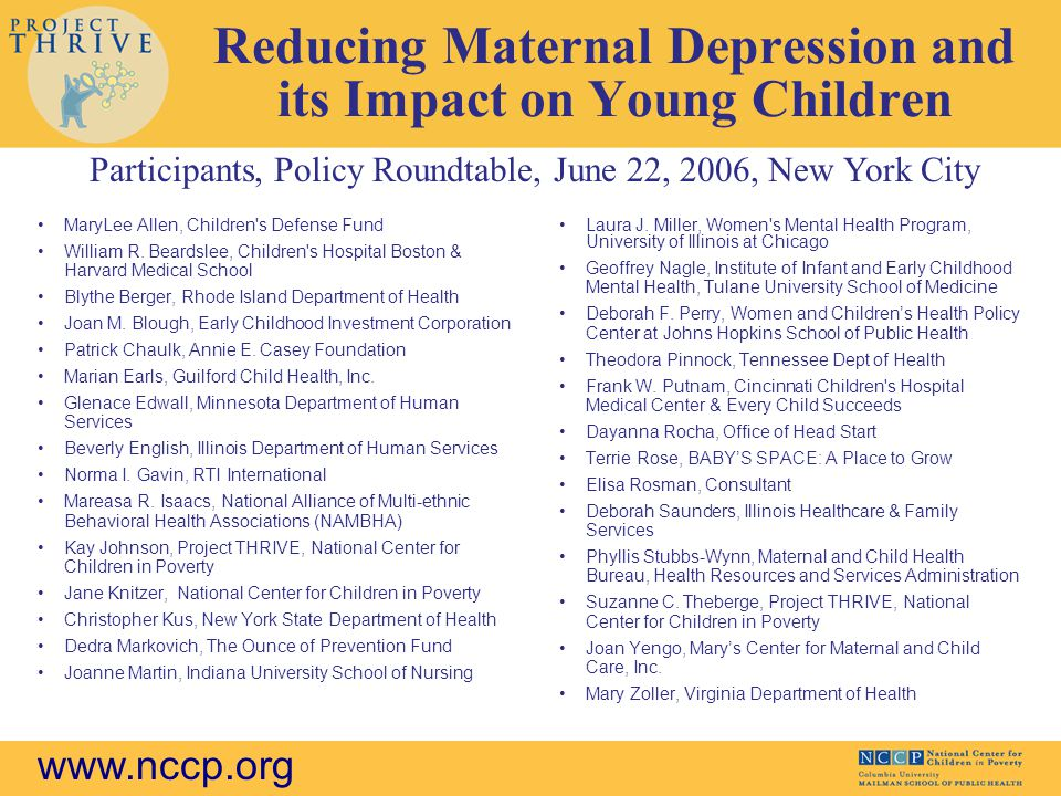 Reducing Maternal Depression and its Impact on Young Children