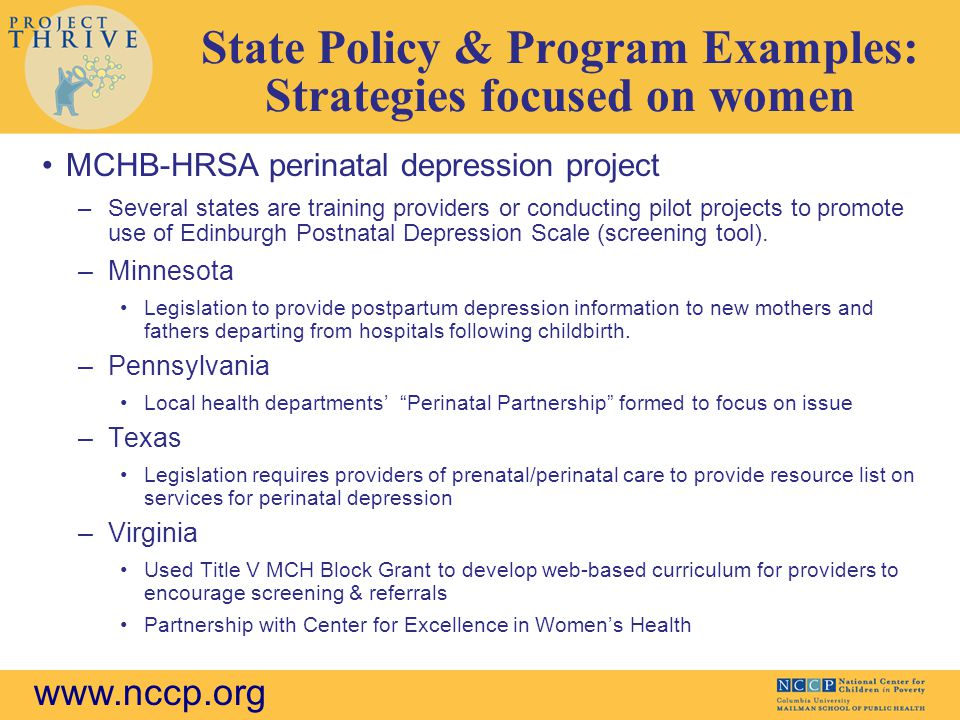 State Policy & Program Examples: Strategies focused on women