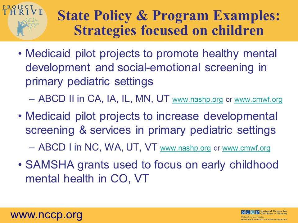 State Policy & Program Examples: Strategies focused on children