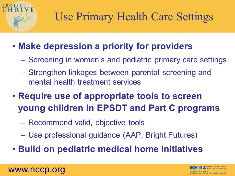Use Primary Health Care Settings