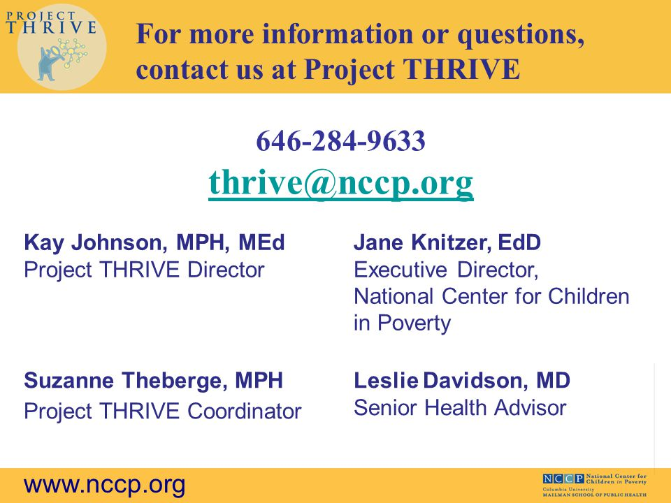 Suzanne Theberge, Project THRIVE at NCCP