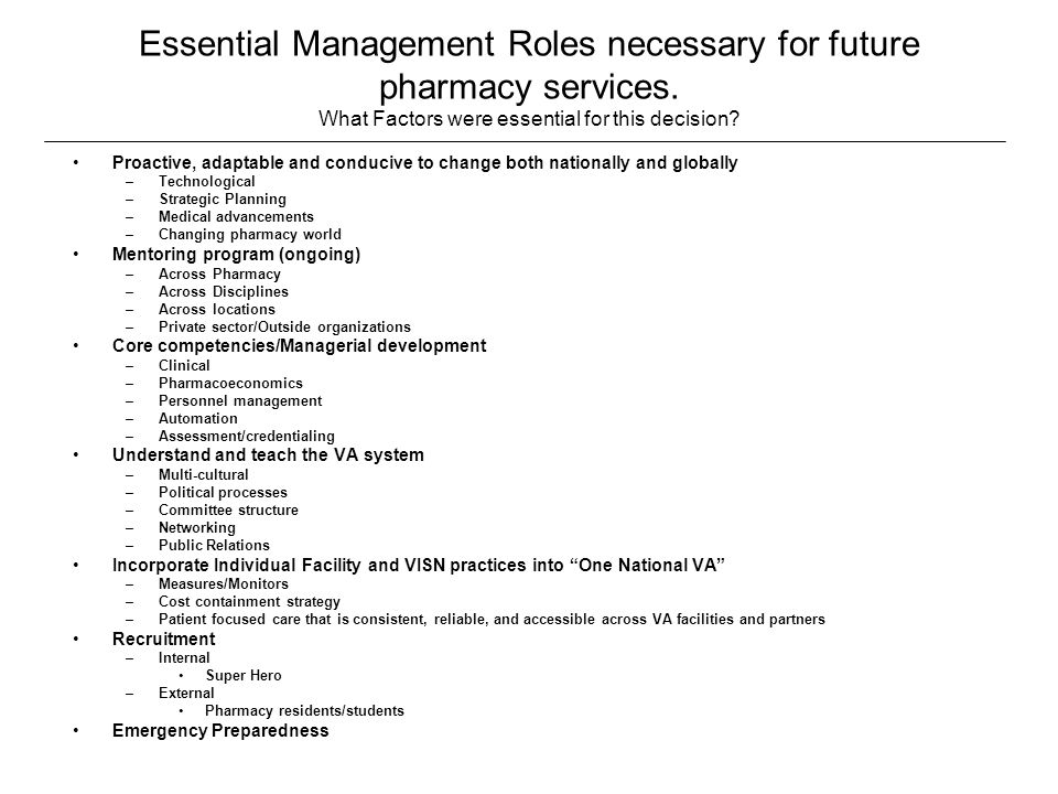 Essential Management Roles necessary for future pharmacy services