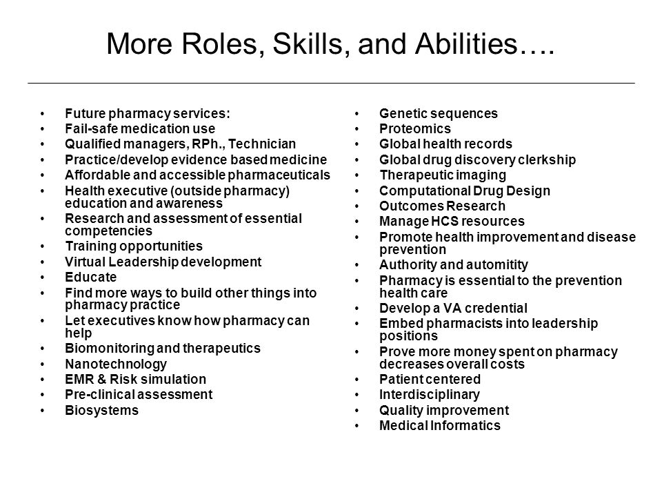 More Roles, Skills, and Abilities….