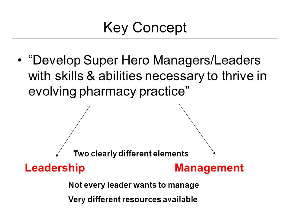 Key Concept Develop Super Hero Managers/Leaders with skills & abilities necessary to thrive in evolving pharmacy practice