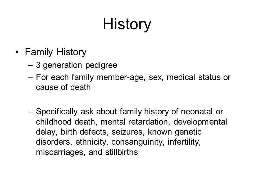 History Family History 3 generation pedigree