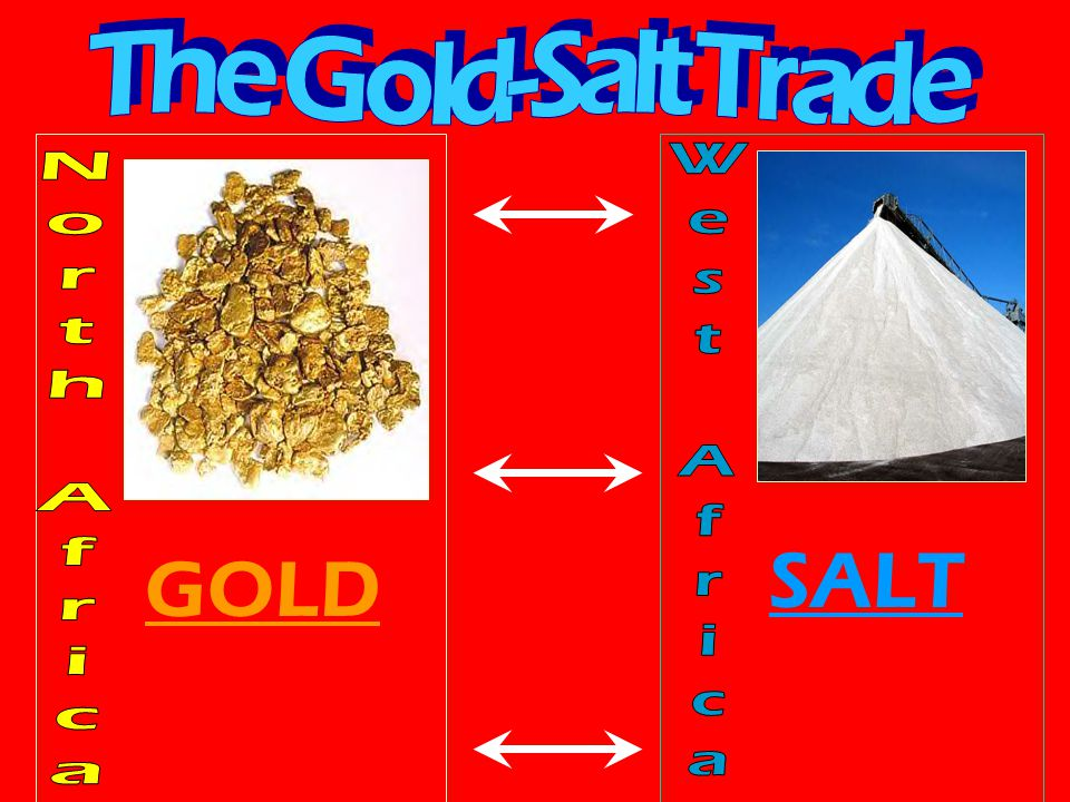 The Gold-Salt Trade West Africa North Africa SALT GOLD
