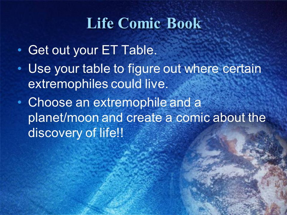 Life Comic Book Get out your ET Table.