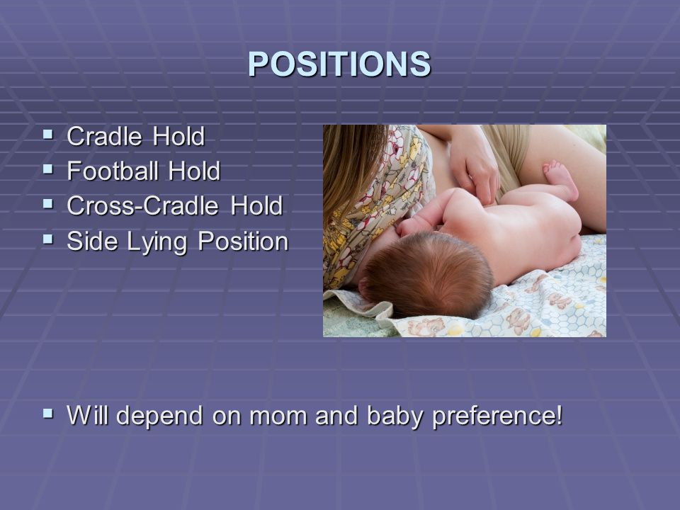 POSITIONS Cradle Hold Football Hold Cross-Cradle Hold