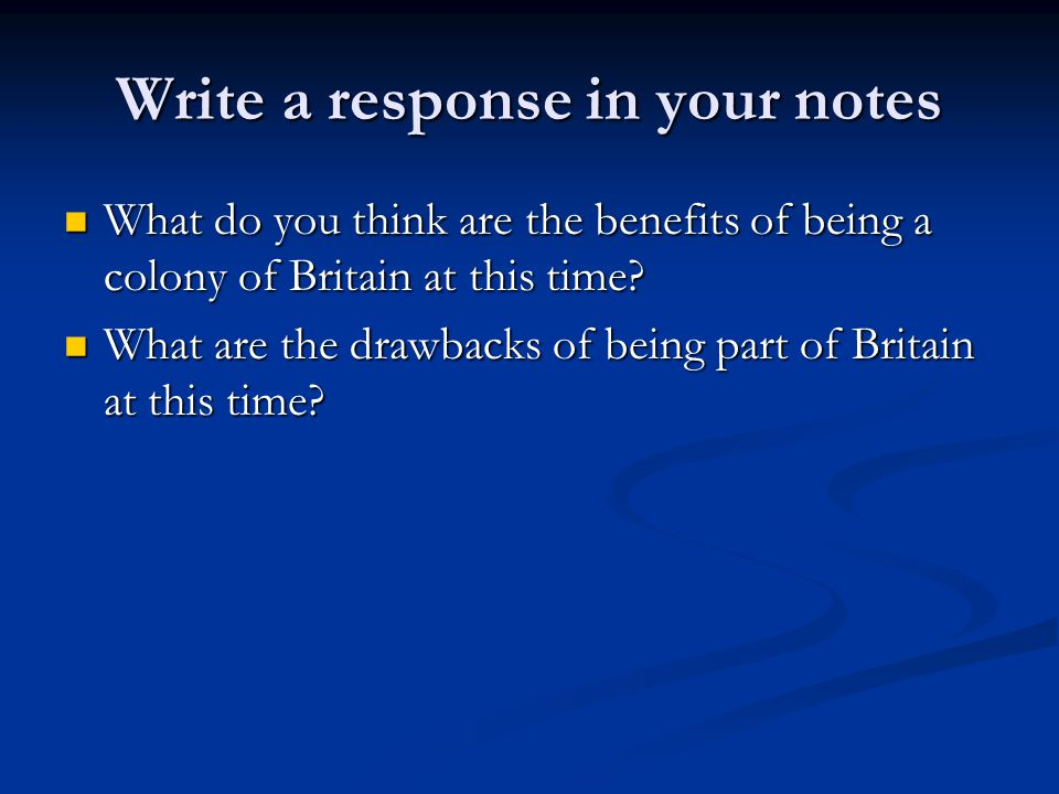 Write a response in your notes