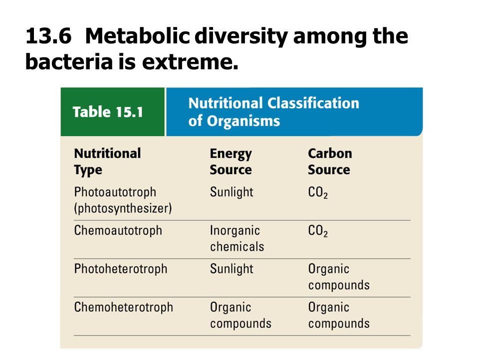 13.6 Metabolic diversity among the bacteria is extreme.