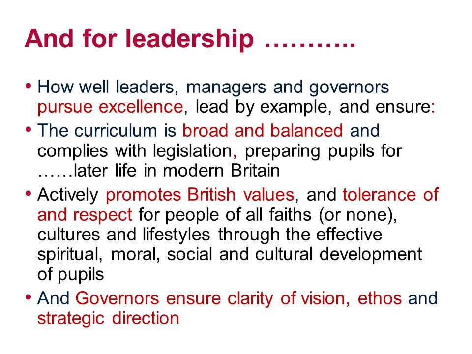 And for leadership ……….. How well leaders, managers and governors pursue excellence, lead by example, and ensure: