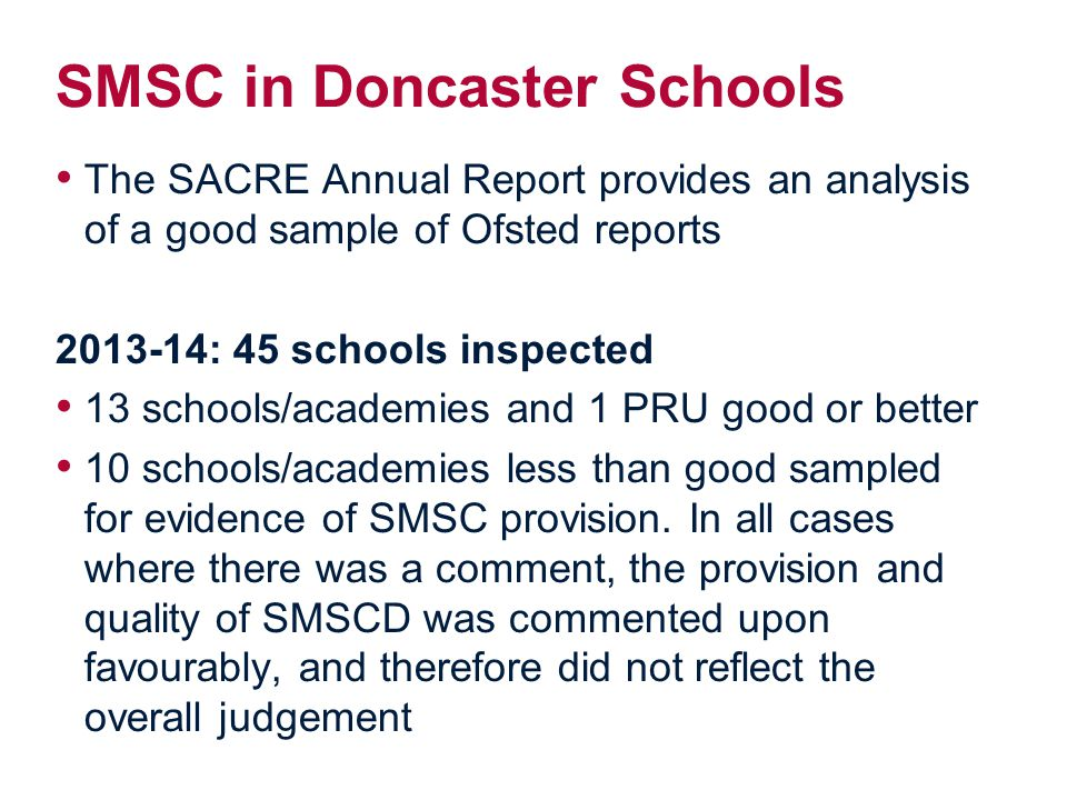 SMSC in Doncaster Schools