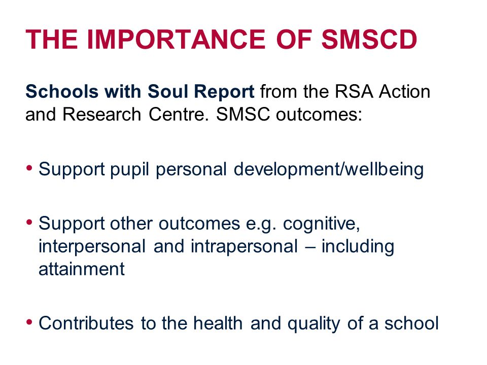 THE IMPORTANCE OF SMSCD