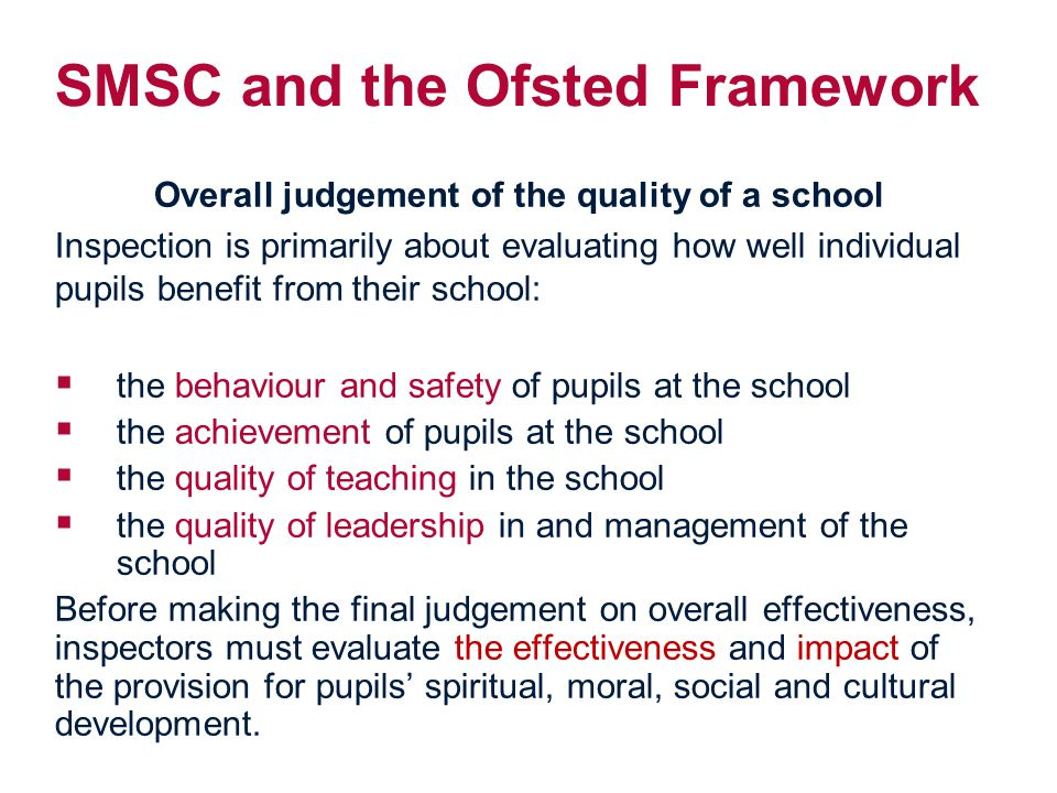 SMSC and the Ofsted Framework