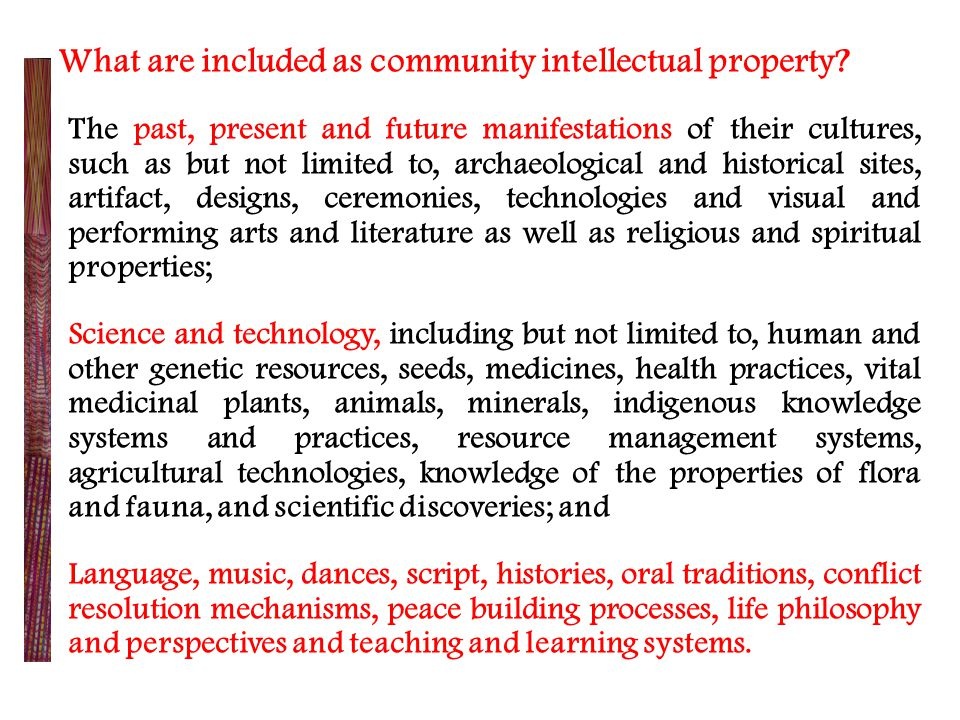 What are included as community intellectual property