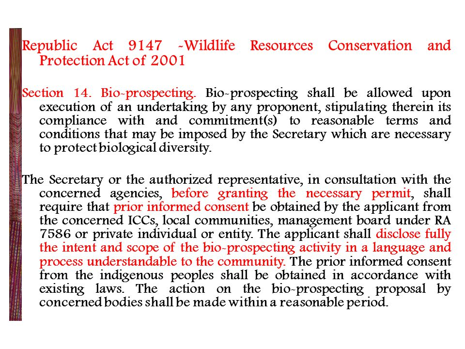 Republic Act 9147 -Wildlife Resources Conservation and Protection Act of 2001