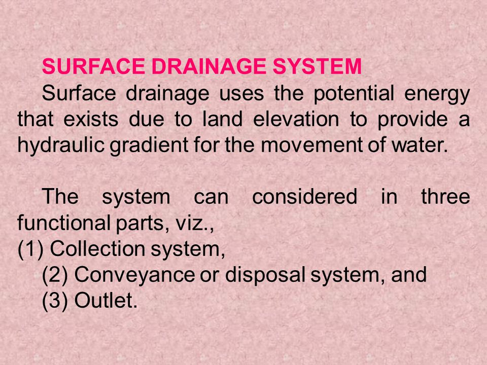 SURFACE DRAINAGE SYSTEM
