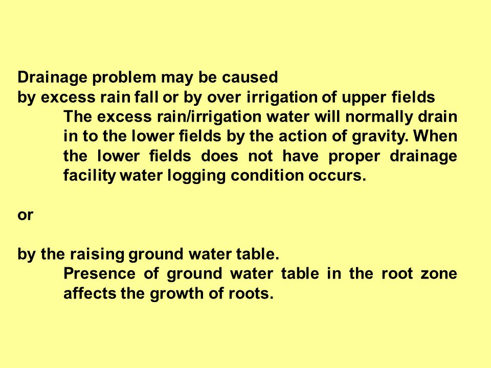 Drainage problem may be caused