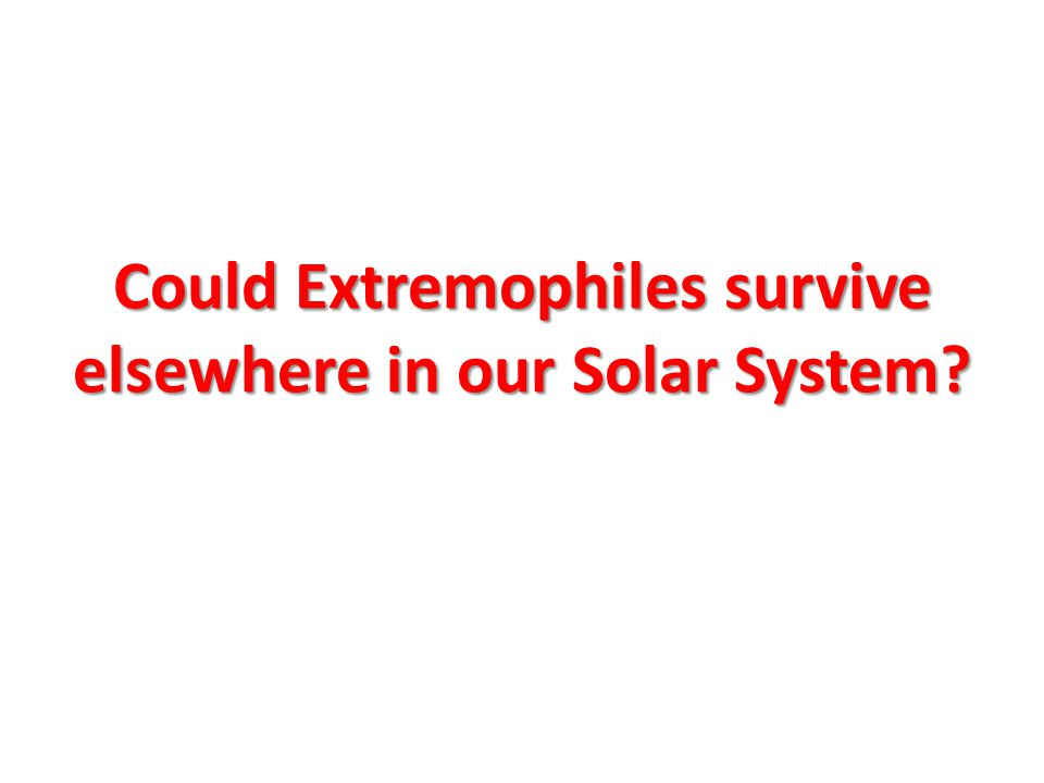 Could Extremophiles survive elsewhere in our Solar System