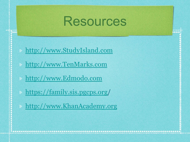 Resources http://www.StudyIsland.com http://www.TenMarks.com