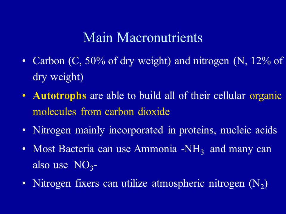 Main Macronutrients Carbon (C, 50% of dry weight) and nitrogen (N, 12% of dry weight)