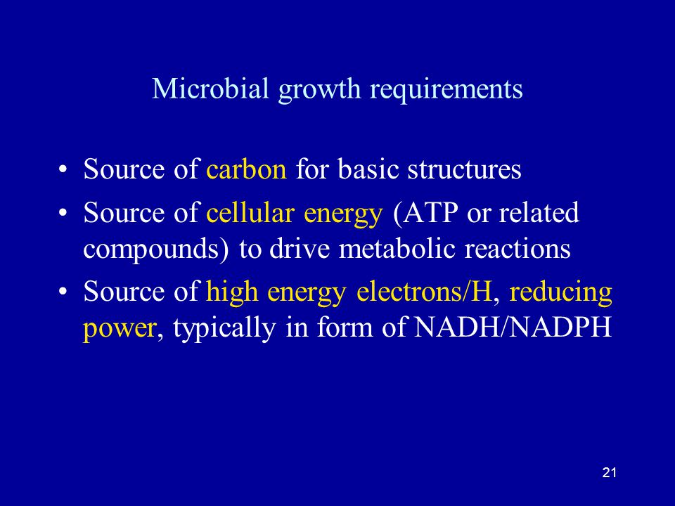 Microbial growth requirements
