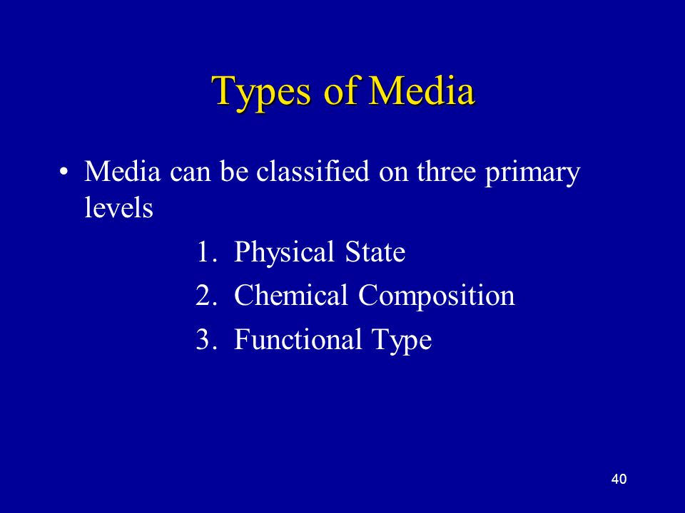 Types of Media Media can be classified on three primary levels