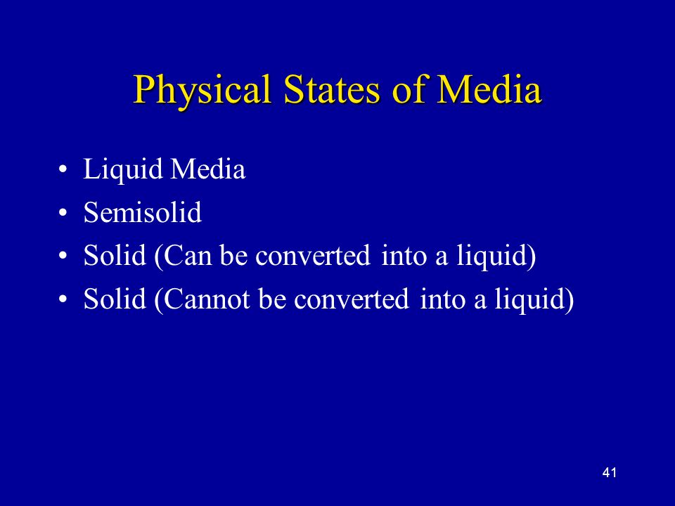 Physical States of Media