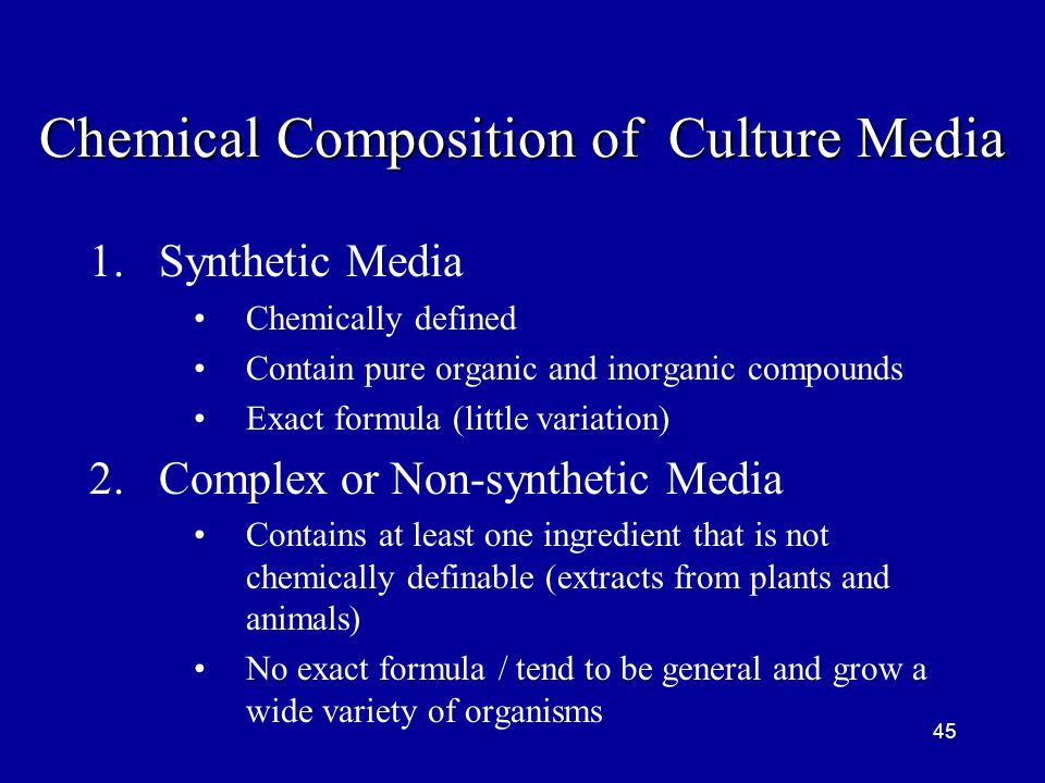 Chemical Composition of Culture Media