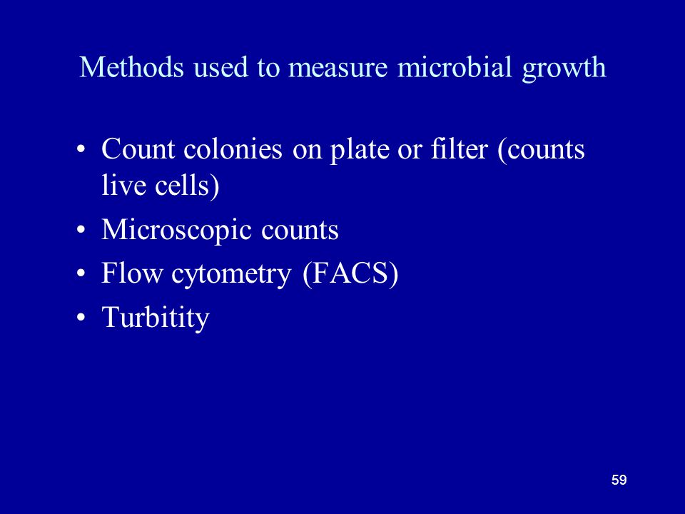 Methods used to measure microbial growth