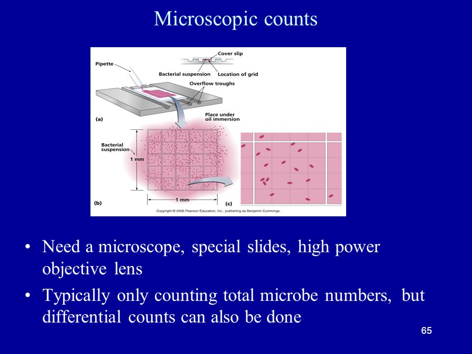 Microscopic counts Need a microscope, special slides, high power objective lens.