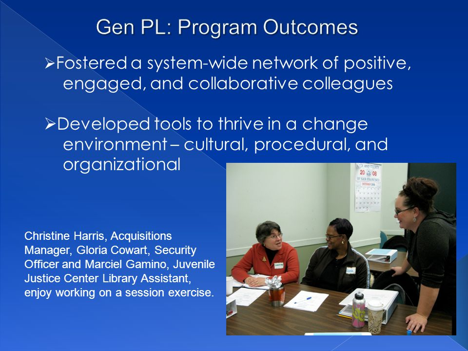 Gen PL: Program Outcomes