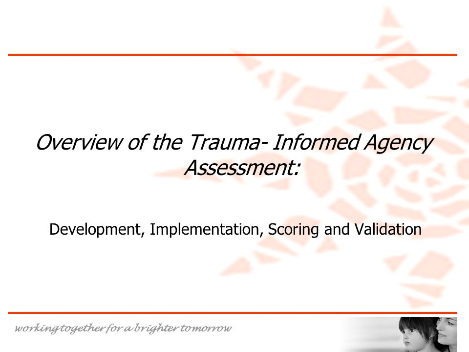 Overview of the Trauma- Informed Agency Assessment: Development, Implementation, Scoring and Validation