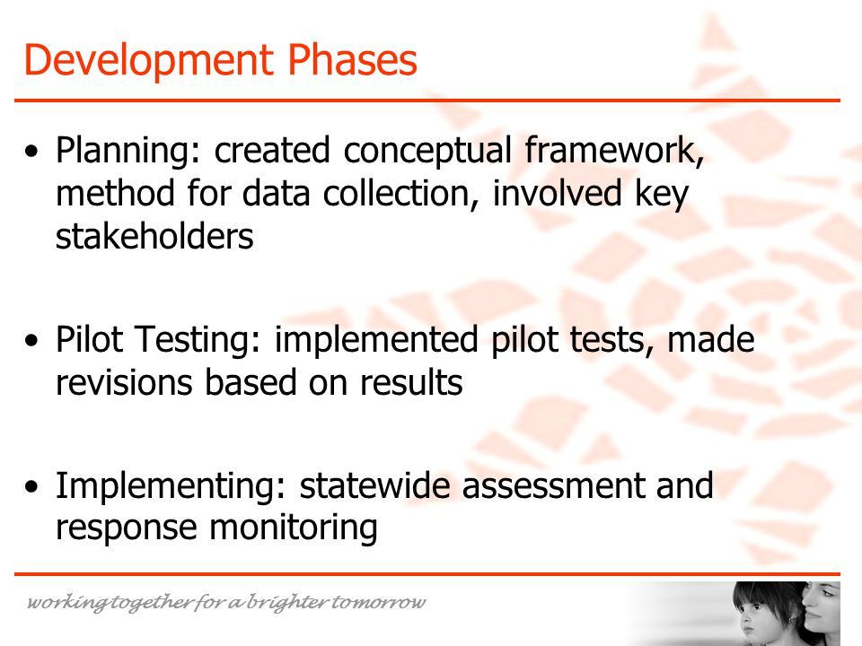 Development Phases Planning: created conceptual framework, method for data collection, involved key stakeholders.
