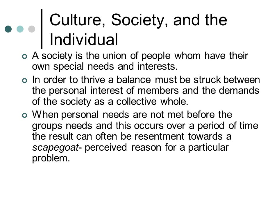 Culture, Society, and the Individual
