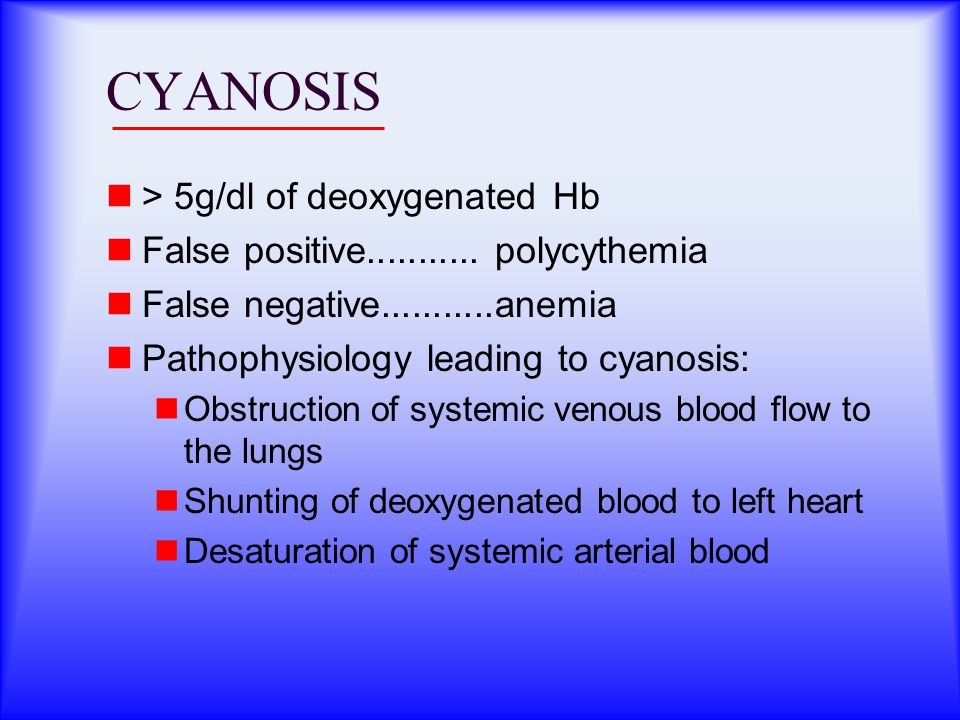 CYANOSIS > 5g/dl of deoxygenated Hb