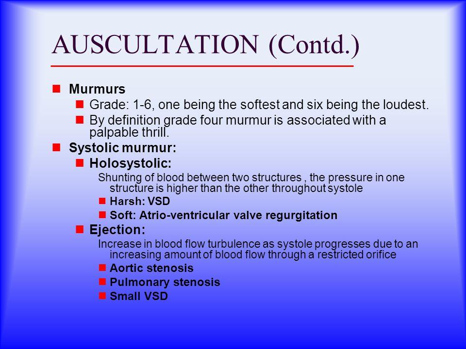 AUSCULTATION (Contd.) Murmurs