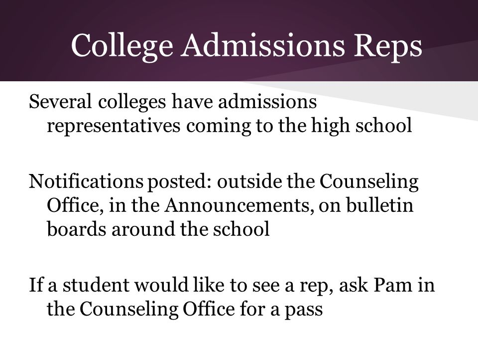 College Admissions Reps
