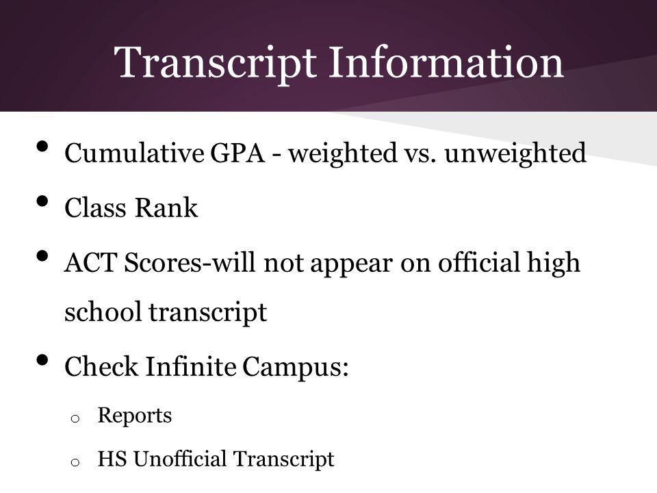 Transcript Information