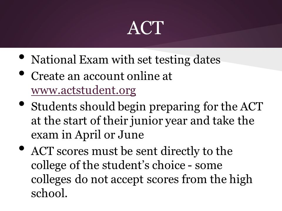 ACT National Exam with set testing dates