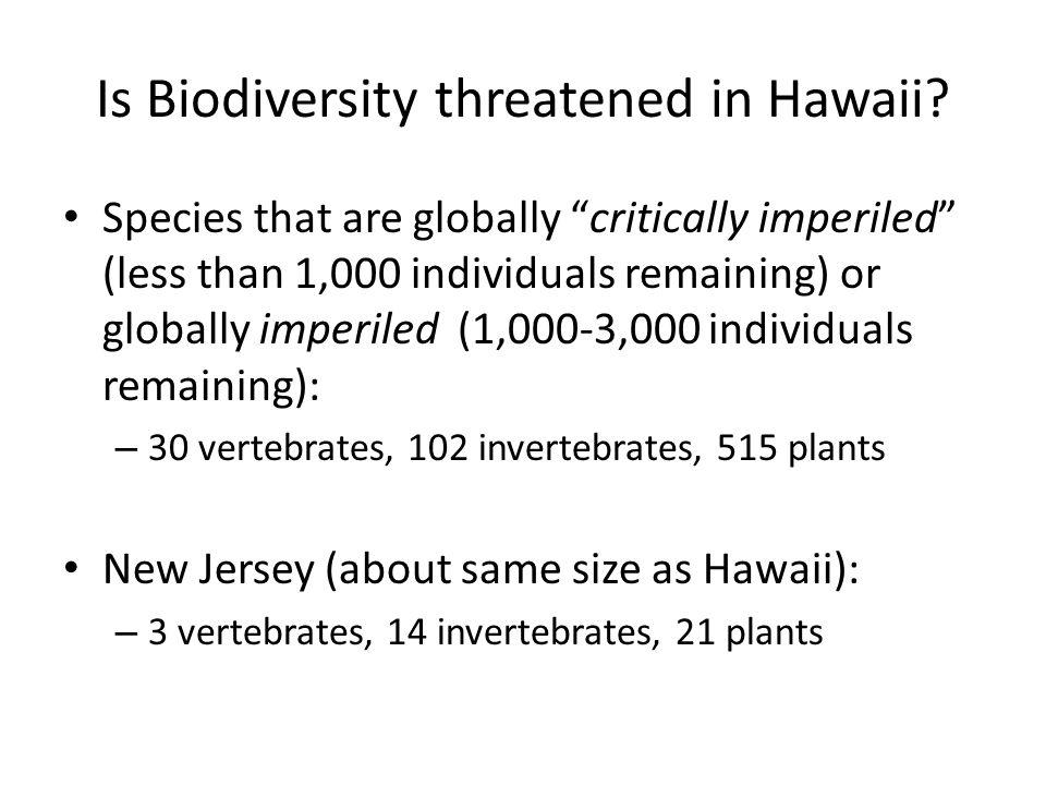 Is Biodiversity threatened in Hawaii
