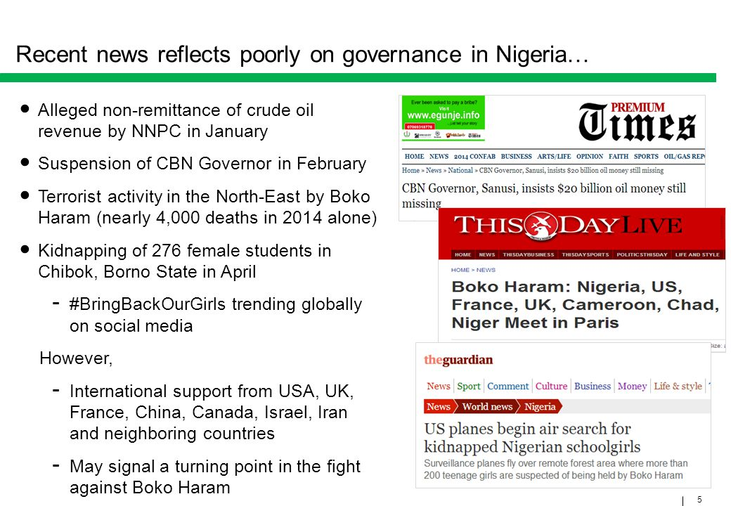 Recent news reflects poorly on governance in Nigeria…