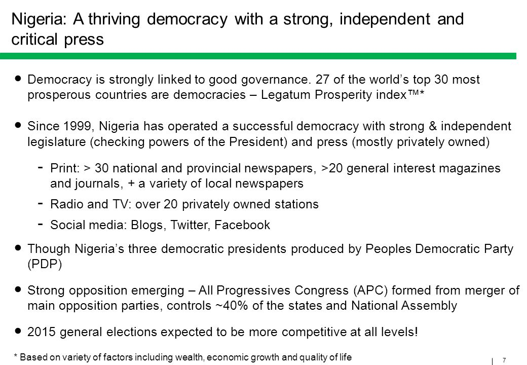 Nigeria: A thriving democracy with a strong, independent and critical press