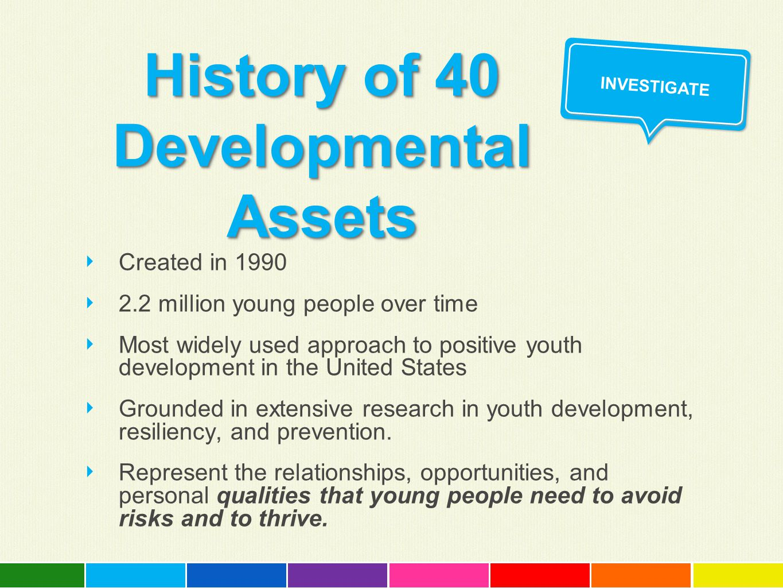 History of 40 Developmental Assets