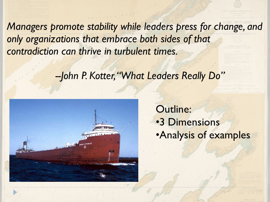 Managers promote stability while leaders press for change, and only organizations that embrace both sides of that contradiction can thrive in turbulent times. --John P. Kotter, What Leaders Really Do