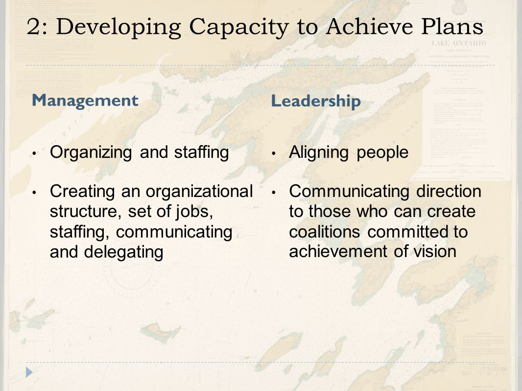 2: Developing Capacity to Achieve Plans