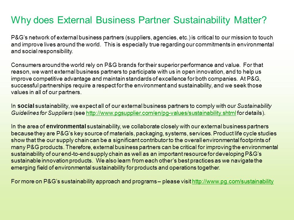 Why does External Business Partner Sustainability Matter