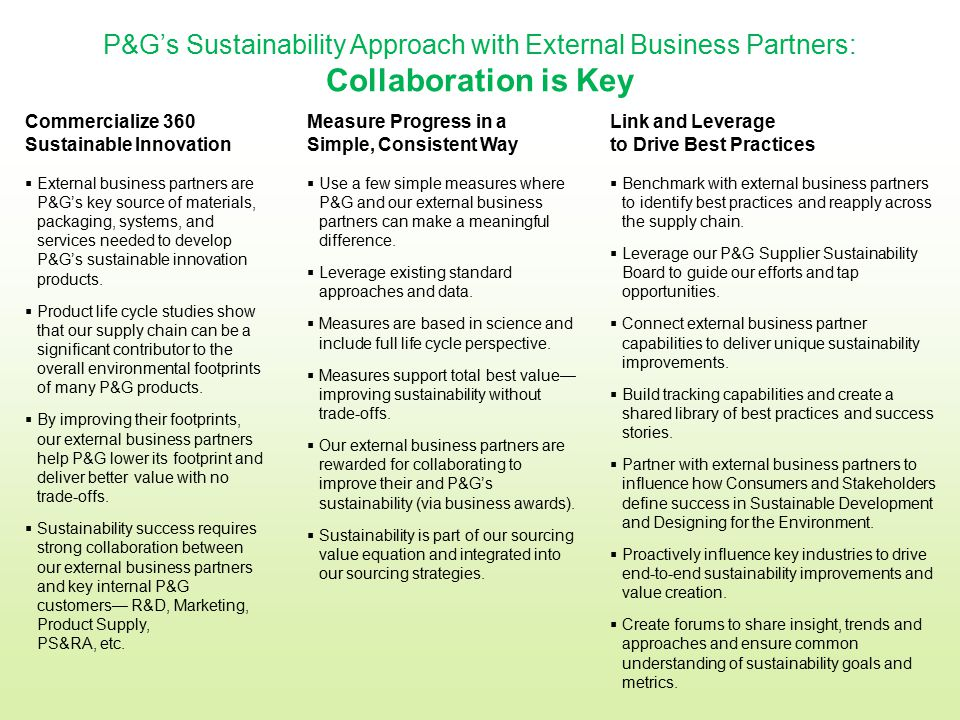 P&G's Sustainability Approach with External Business Partners: