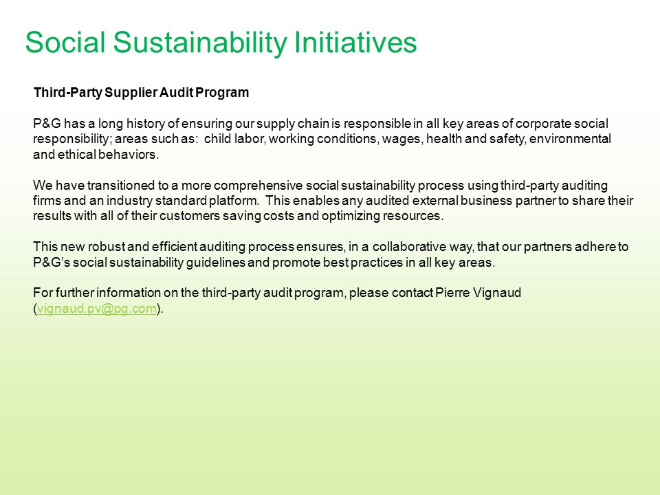 Social Sustainability Initiatives