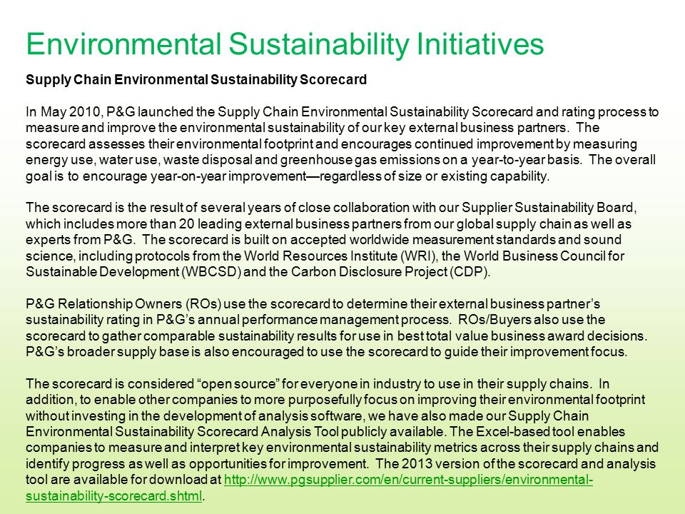 Environmental Sustainability Initiatives